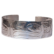 S. SHEAKLEY Eagle - Hand Carved Sterling Cuff/Bracelet