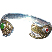 LARRY P. TARANOFF -, 'Bear  Father' Hand Hammered Carved Bracelet-18K Gold Head & Claw with Semi-precious Stones