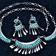 Zuni Turquoise Necklace & Earrings - in Hand-Hammered Sterling