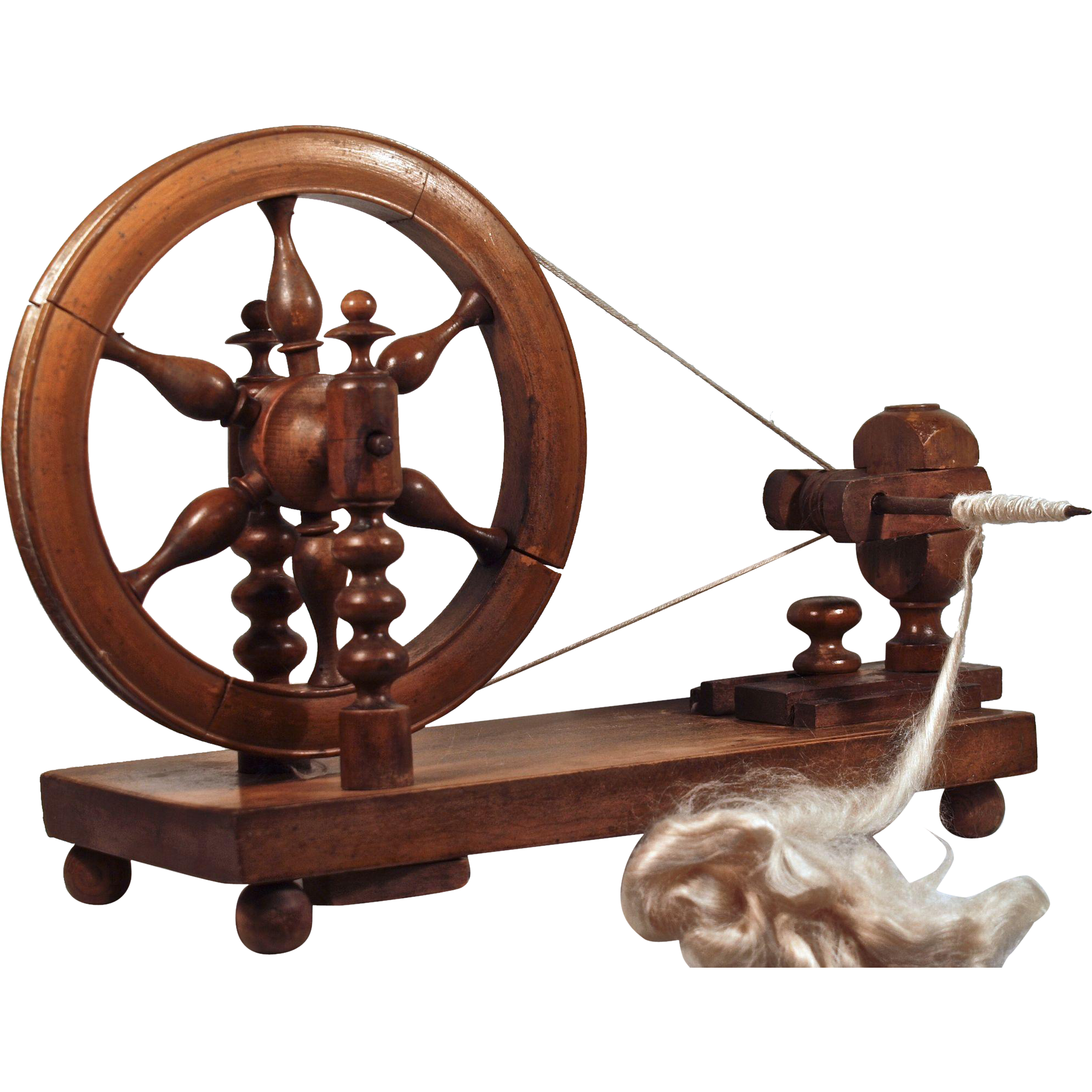 LACE WHEEL - Hand Operated Spinning Wheel  - French-Belgian Cherry Wood