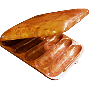 Russian Karelian Beechwood Burl Cigar Case/Box - Dovetail Seamless Hidden Hinge - Edwardian Era