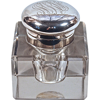INKWELL - American Sterling-Mounted Heavy Cur Crystal - Hallmarked
