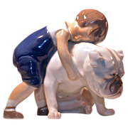 TWO FRIENDS FIGURINE #1790 By Bing & Grondahl (B&G) - Boy Hugging Bulldog/Mastiff