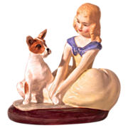 "ROYAL DOULTON ""Golden Days"" 1963 Young Girl & Dog/Terrier"