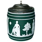 JASPERWARE - Green Tobacco Jar/Humidor - Pewter Rim & Tip
