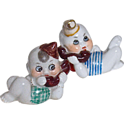 GOOGLE PHONE BABIES - !920s Porcelain Nippon - Pair - Adorable