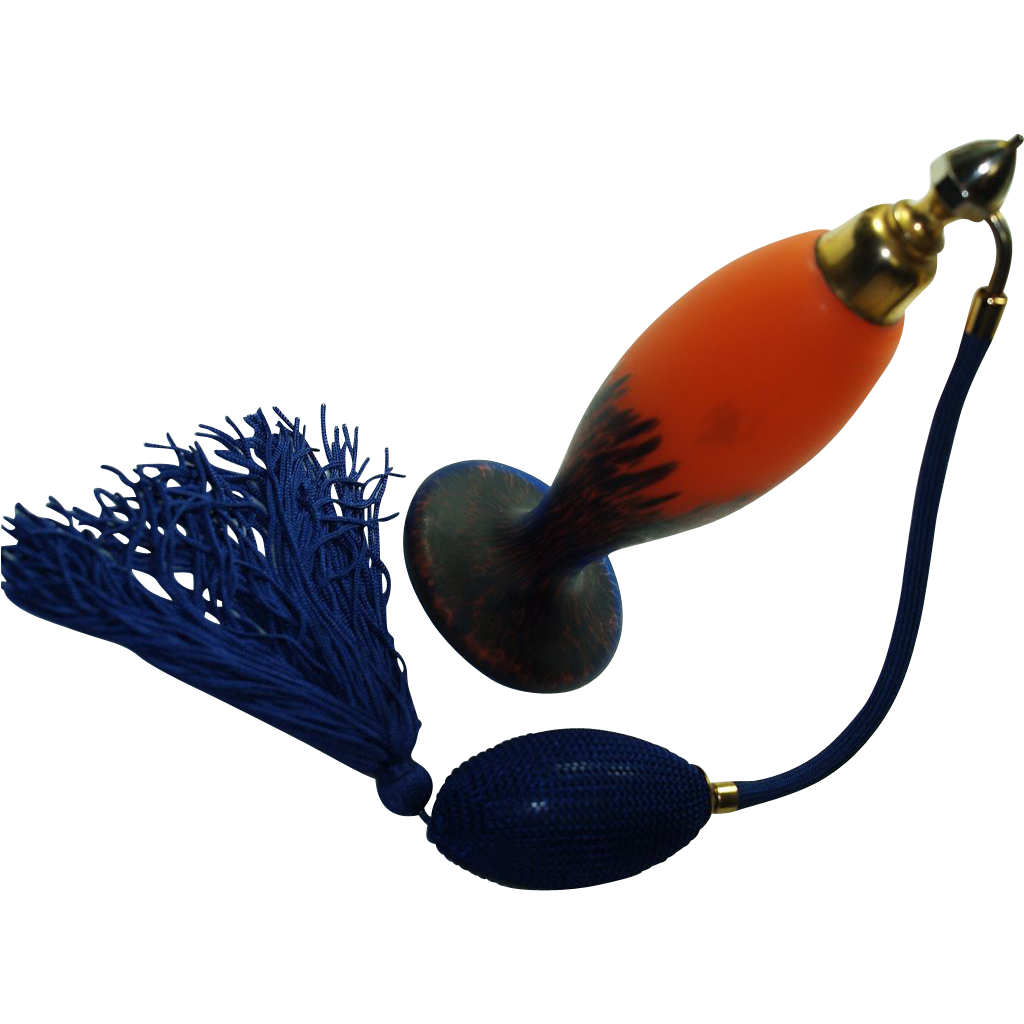MARCEL FRANCK   Cobalt on Tango Orange Cameo Glass Perfume Atomizer - Art Deco Era