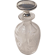 "PERFUME BOTTLT - Etched Cut Crystal - Sterling Dauber/Stopper, mono & dated ""MM July 30, 1925"""