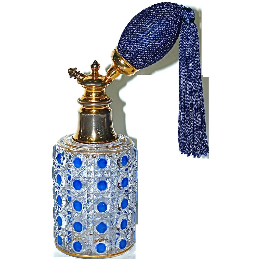 BACCARAT -  'Stella' Cut Crystal & Blue Enamel Atomizer