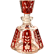 Bavarian Intaglio Cut Cranberry Crystal Perfume Bottle