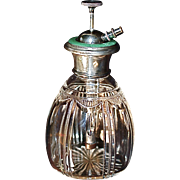 Antique Green Guilloche Machined Enamel on Sterling Crystal Perfume Atomizer
