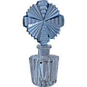 CZECH CRYSTAL PERFUME - Blue Stopper/Dauber & Clear Bottom - Sharp Brilliant Cut