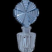 CZECH CRYSTAL PERFUME - Blue Stopper/Dauber & Clear Bottom - Sharp Brilliant Cut