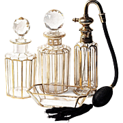 BACCARAT 22K Gold Trim Atomizer - 6-pc  Dresser/Vanity Perfume Set - Signed Parisienne Bite S.G.D.E.- Antique