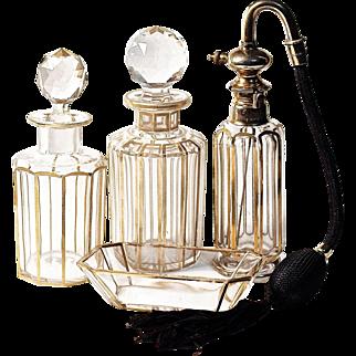 BACCARAT 22K Gold Trim Atomizer - 6-pc  Dresser/Vanity Perfume Set - Signed Parisienne Bite S.G.D.E.- Antique