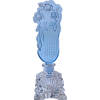 CZECH CRYSTAL PERFUME BOTTLE - Blue Sharply Carved Intaglio Roses - Signed