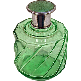 Apple Green Perfume/Vanity/Cologne Bottle with Matching Green Guilloche Top