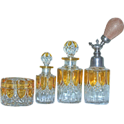 VAL ST. LAMBERT - Ca1900 Amber to Clear Atomizer, Covered Powder, Lg & Sm Cologne 7-pc Vanity Set