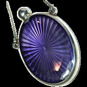Guilloche Amethyst Purple Enamel & Sterling Dance Perfume with Finger Chain