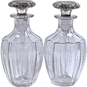 Pr. HAWKES Cut Crystal Perfume Bottles - R. Blackinton & Co.  Sterling Daubers/Stoppers