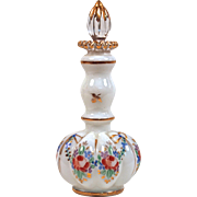 "FENTON ""Charleton"" Floral Rose Garland Tall Melon Hand-Painted Cologne/Perfume Bottle - 1940"