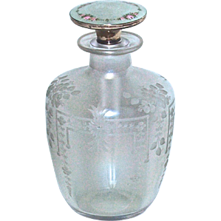 STEUBEN - FREDERICK CARDER - Verre de Soie - Hawkes Engraved/Etched Perfume/Cologne Bottle - Sterling & Guilloche Enamel Stopper/Dauber