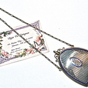 22 Karat Gold Edwardian Sapphire & Enamel Nécessaire/Dance Purse/Compact with Dance Card