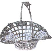 STERLING BASKET = Reticulated with Draping Grapes - Wright, Kay & Cp. of Detroit