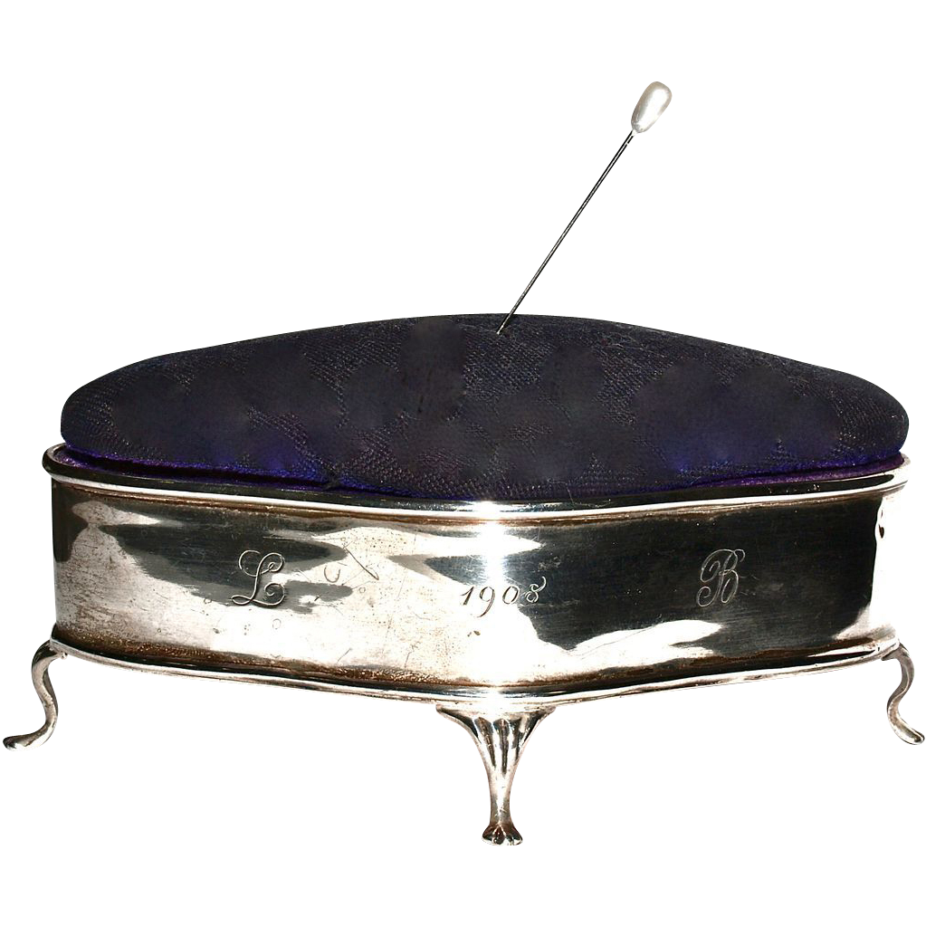 BIRMINGHAM 1908 - Antique Sterling Jewelry Box - Pin/Hatpin  Cushion Top - English