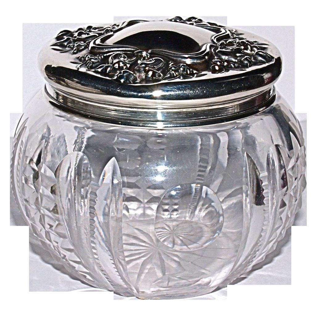 American Brilliant Cut Period Crystal Dresser Jar - Sterling Top