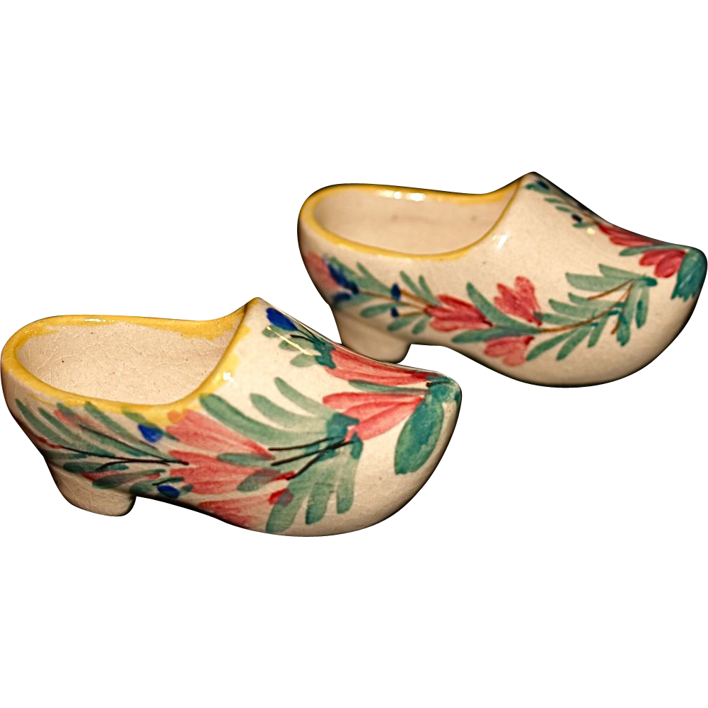 HB Faiencerie Stanniferous (tin-enameled) Glaze Pottery Shoes/Clogs
