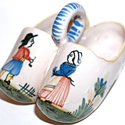 QUIMPER  Faience Pottery Double Salt Clogs