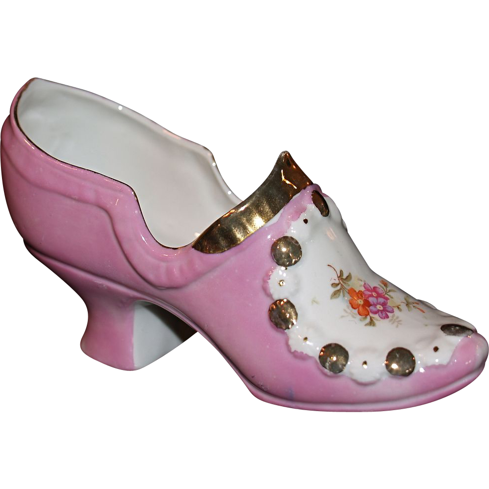 German Porcelain Pink Glazed Pump/Shoe