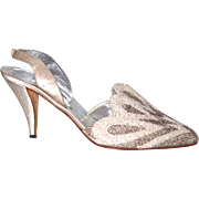 "VANESSA NOEL  3-3/4"". HIGH-HEELS  38 (US 8) - Hand Beaded on White Silk Satin - Wedding/Evening Shoes"