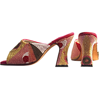 "TERRI MOORE Unique Hand Beaded Mules/Shoes -  US Size 6 with a 3-1/2"" Heel Height.  Gorgeous!"