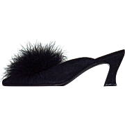 NATORI-  Black Suede with Fox Accent  Classic Kitten Slippers/Shoes - US Size 7-1/2 B - Heel Height  3""