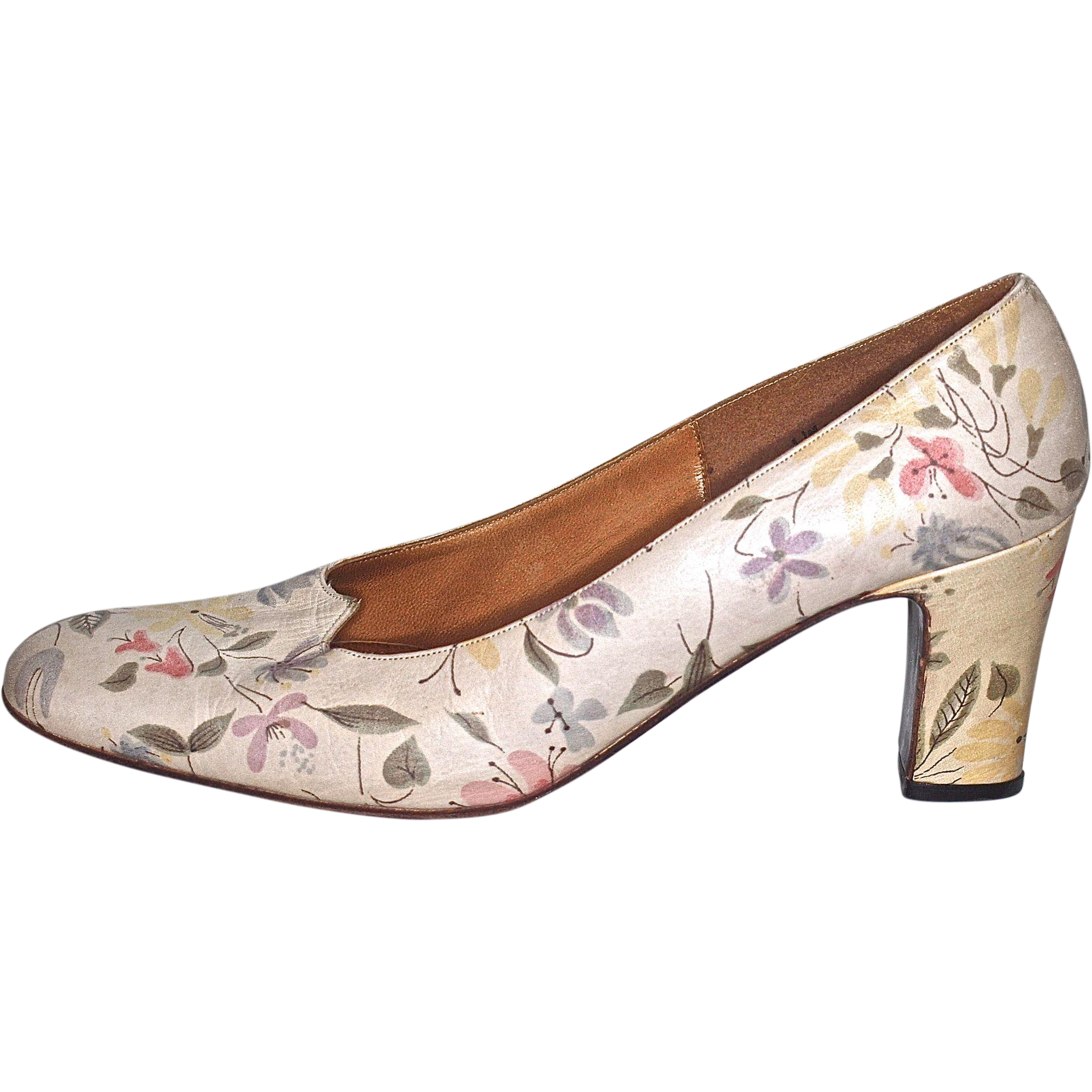 MR. SEYMOUR Floral High-Heel - US Size 6M - Heel Height (Seymour was Stuart Weitzman's Father)
