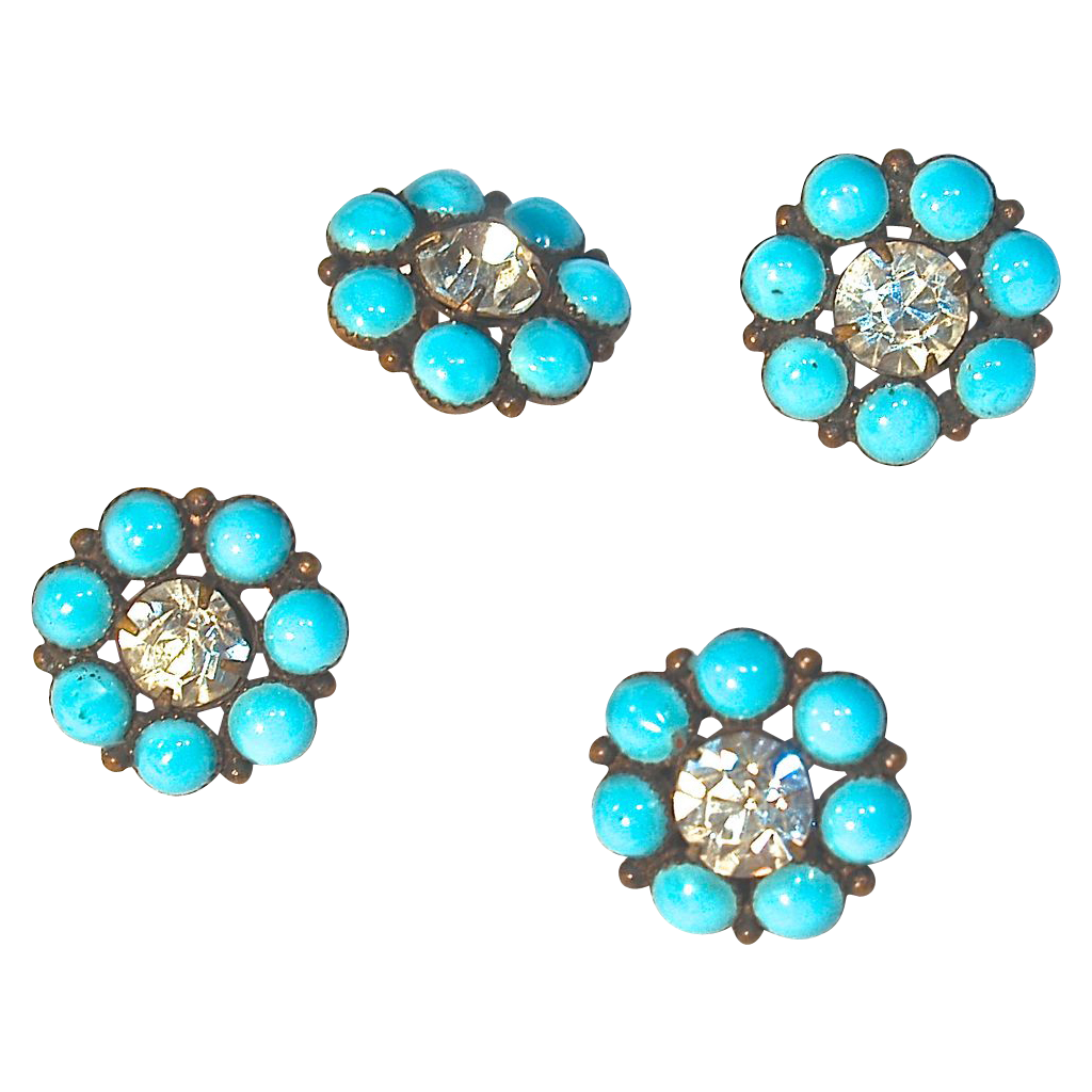 Old Turquoise & Rhinestone Buttons from Maisel's Indian Trading Post