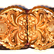 Gold Plated Floral Belt Buckle Vintage Ribbon for Belt