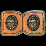 Green Lucite/Bakelite Scarab Belt Buckle