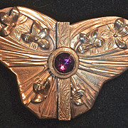 Art Nouveau Butterfly Amethyst Gilt Belt Buckle