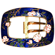 Champleve Belt Buckle - Cabbage Roses set in Cobalt enamel on Gilt Metal