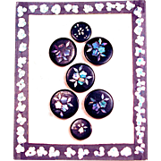 FRENCH PAPIER MACHE BUTTONS - Rare - 7 Black Lacquer with Mother of Pearl/Abalone Flower Inlay