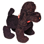 SCHUCO TRIP TRAP Poodle Dog - Mechanical Pull Toy - Plush Black Mohair