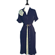1930s DECO PRINT DRESS - Navy Silk Crepe Day Dress with Green Deco Print Accents