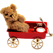 BEAR & CUB & DRUM in Little Red Wagon - Miniature