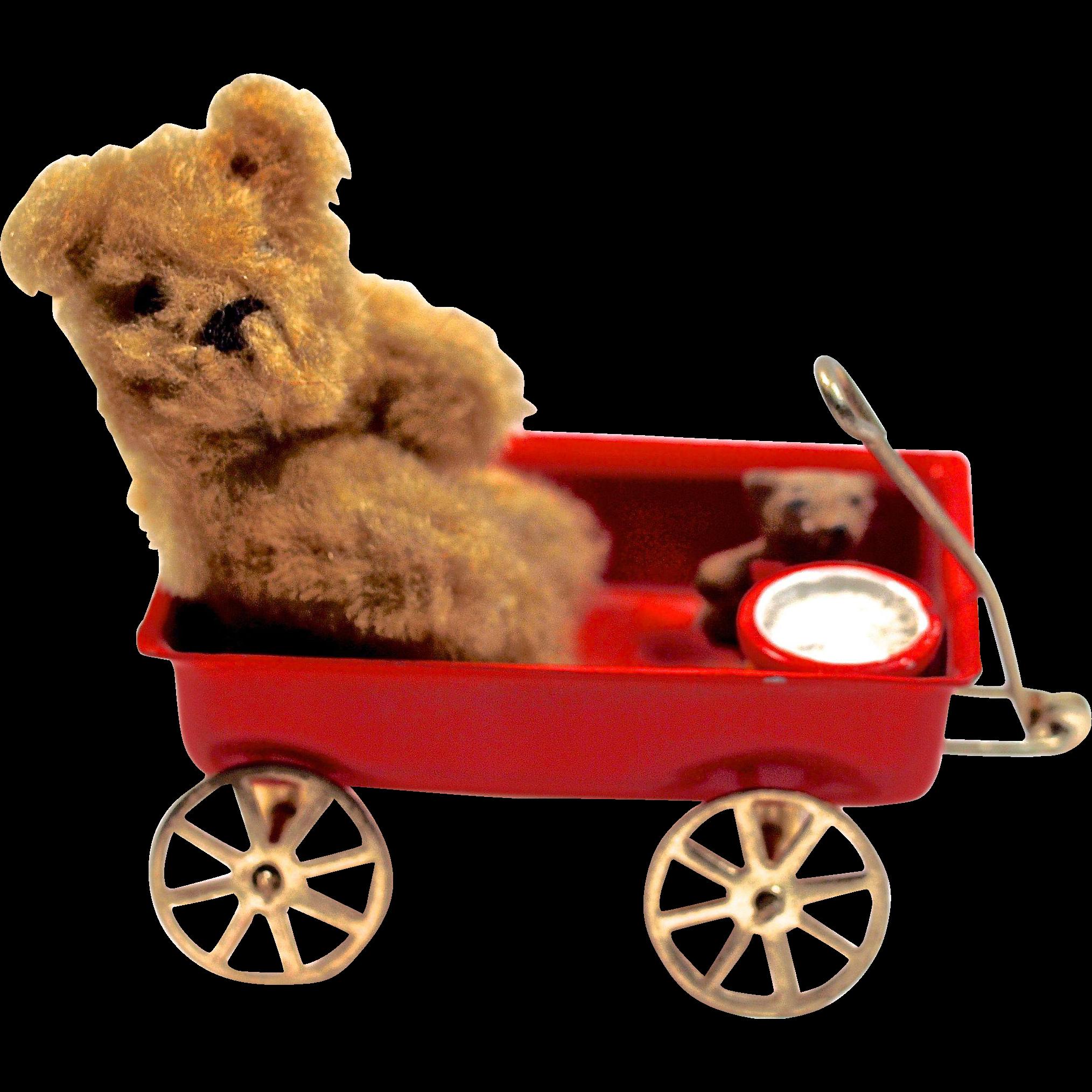 BEAR & CUB & DRUM in Little Red Wagon - Miniature