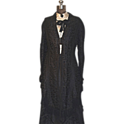 Victorian Mourning Dress - 2-pc. Black Silk Faille & Battenburg Lace