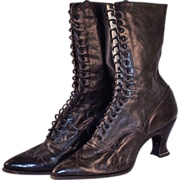 VICTORIAN  High-Top Hand Made High Top Boots/Shoes - Black Leather