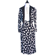 1930s CHIC SILK PRINT SUIT - Pearl Button Accents on White Silk Halter-Top with Black & White Print Silk Suit